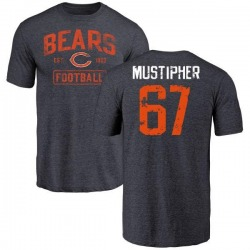 Youth Sam Mustipher Chicago Bears Navy Distressed Name & Number Tri-Blend T-Shirt
